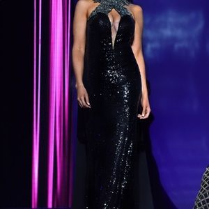 Stunning black sequin evening / pageant gown